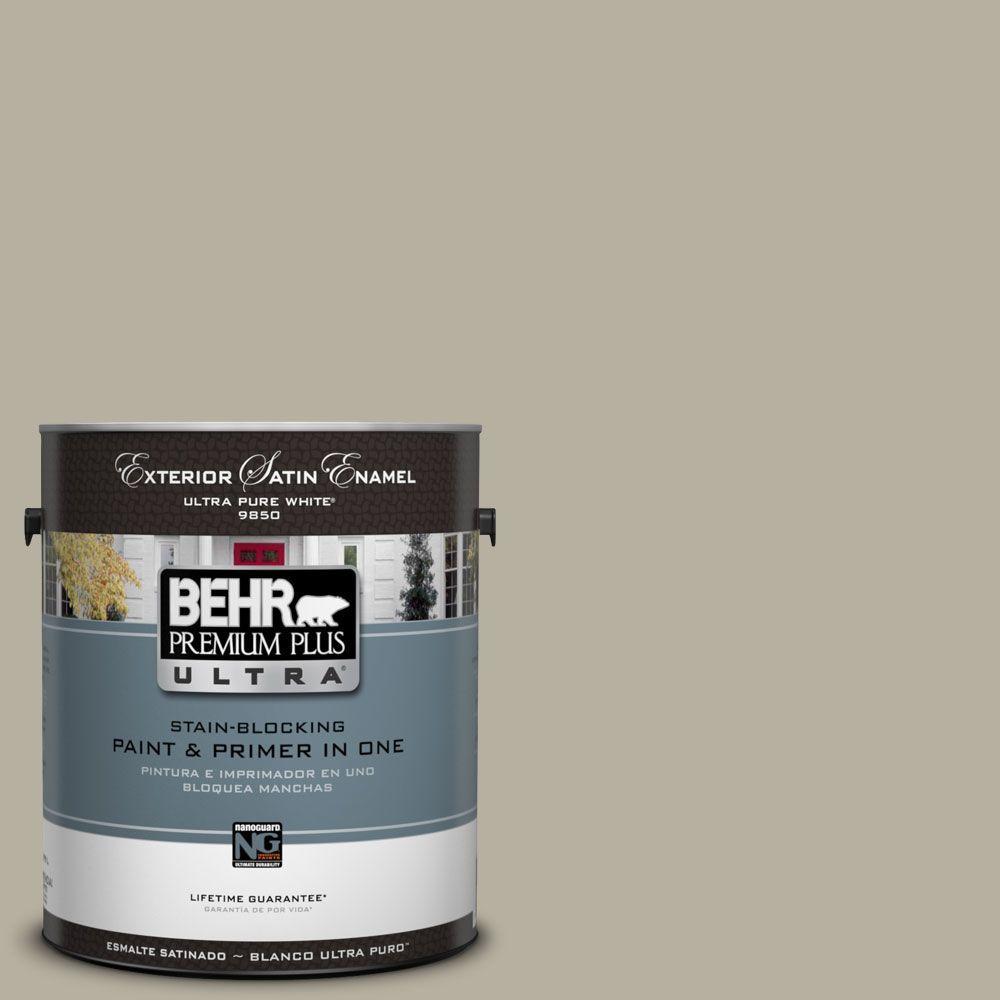BEHR Premium Plus Ultra 1-Gal. #UL190-7 Saturn Gray Satin Enamel Exterior Paint