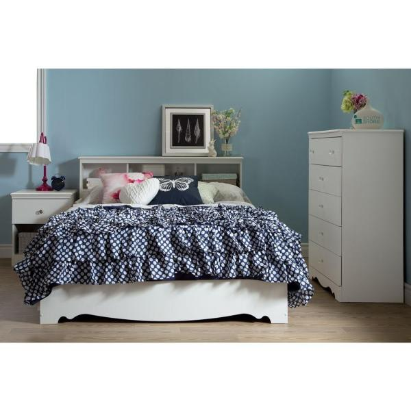 South Shore Crystal 3-Drawer Pure White Full-Size Storage Bed 3550211