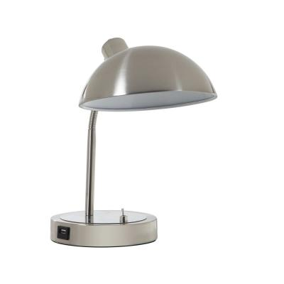 13.75 in. Silver Leone Flexible Neck Metal Student Task Desk Lamp with USB Port