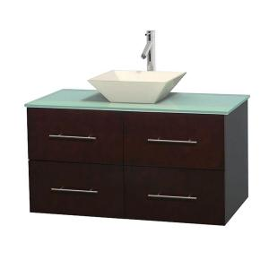 Wyndham Collection Centra 42 inch Vanity in Espresso with Glass Vanity Top in Green and Bone Porcelain Sink by Wyndham Collection