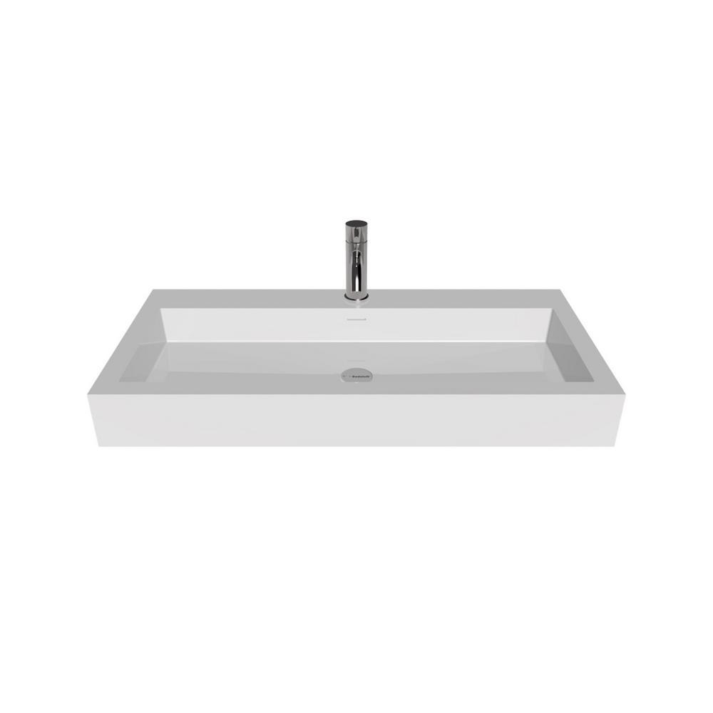 Badeloft Usa 39 In Wall Mount Vessel Sink Glossy White