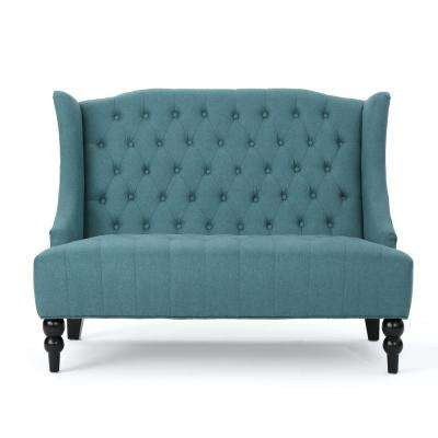2-Seat Dark Teal Tufted Fabric Winged High-Back Loveseat