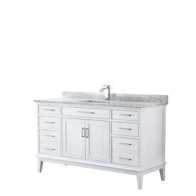 Margate 60 in. W x 22 in. D Bath Vanity in White with Marble Vanity Top in White Carrara with White Basin