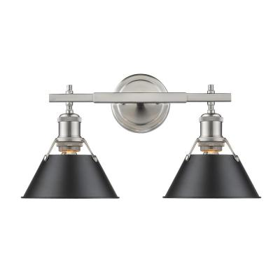 Orwell PW 2-Light Pewter Bath Light with Black Shade