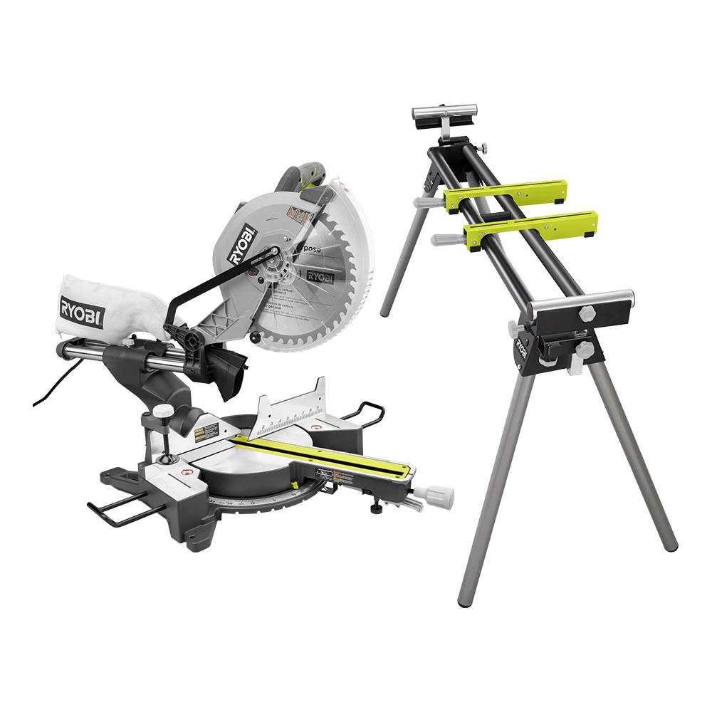 RYOBI 12 in. Sliding Miter Saw with LED and Miter Saw Stand with Tool-Less Height Adjustment