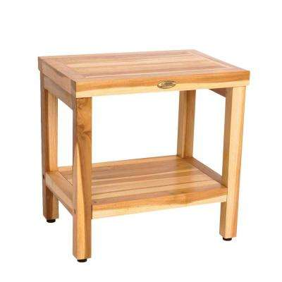 EarthyTeak Classic 18 in. Teak Shower Bench with Shelf