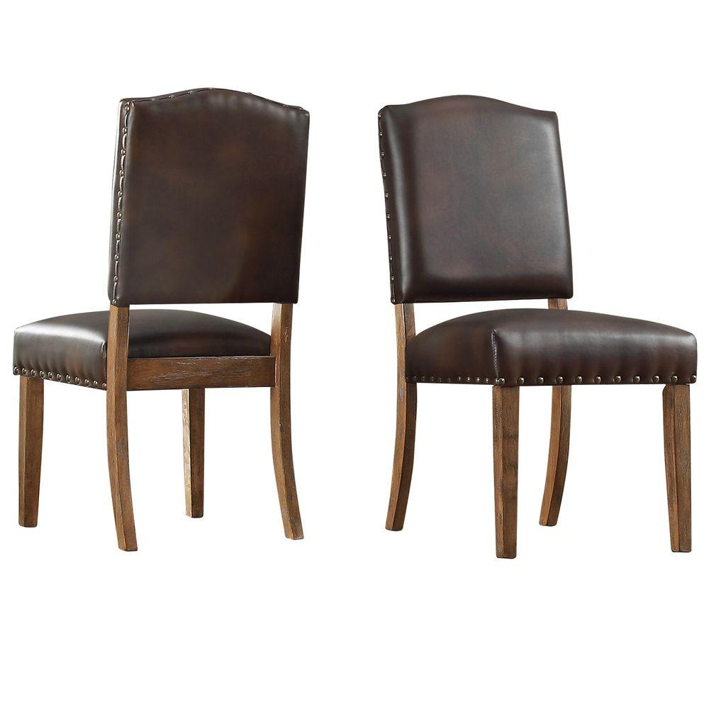 HomeSullivan Bunker Hill Chocolate Linen Dining Chair (Set Of 2)