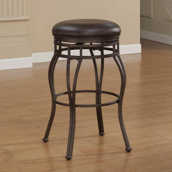 American Woodcrafters Villa 34 in. Taupe Grey Backless Swivel Tall Bar Stool