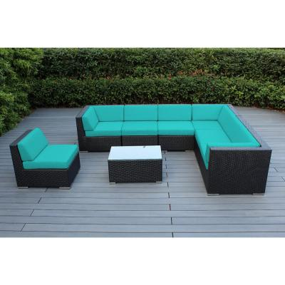 Ohana Depot Ohana Black 8 Piece Wicker Patio Seating Set With Supercrylic Turquoise Cushions Pn0804 Tq The Home Depot