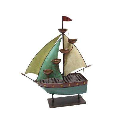 33 in. Sailor Ship with 5-Leaf Cup Tier Floor Fountain