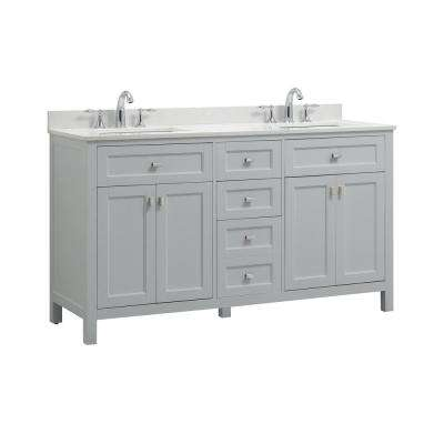 Juniper 60 in. W x 21 in. D Bath Vanity in Dove Gray with Engineered Marble Vanity Top in Yves White with White Basin