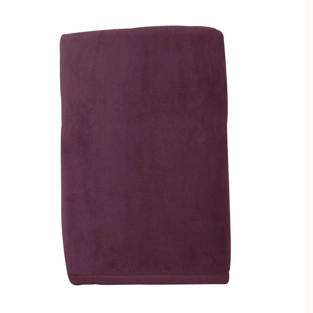 Cotton Fleece Plum Queen Woven Blanket