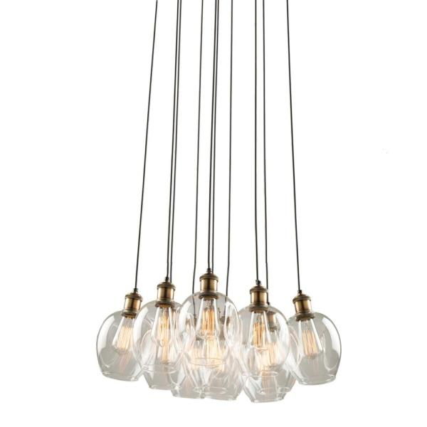 Clearwater 10-Light Vintage brass Linear Chandelier with Glass Shades