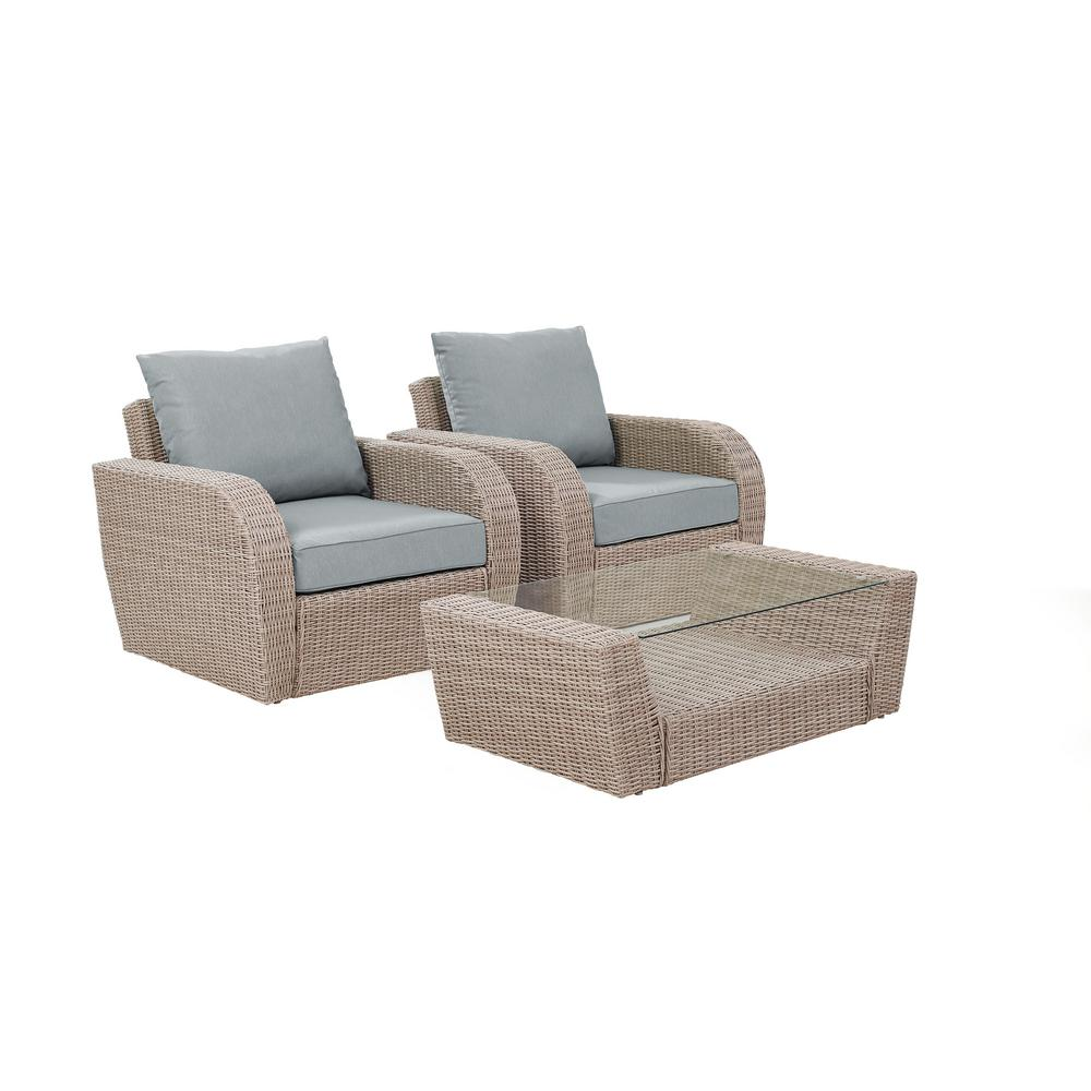 Crosley St Augustine 3-Piece Wicker Patio Outdoor Seating Set with Mist Cushion - 2 Wicker Outdoor Chairs, Coffee Table was $965.79 now $541.79 (44.0% off)