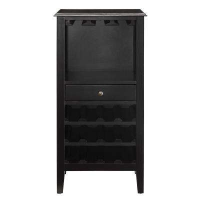 Kent 12-Bottle Black Small Bar Cabinet