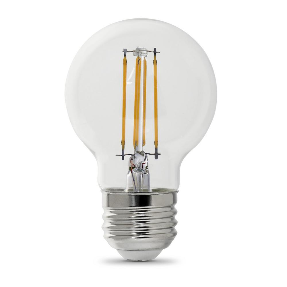 40-Watt Equivalent G16.5 Medium Dimmable Filament ENERGY STAR Clear Glass LED Light Bulb, Soft White (2-Pack)