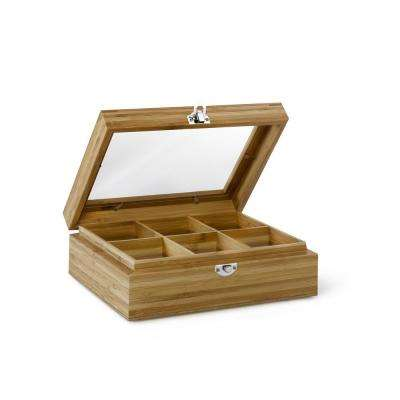 Tea Box with Window, 6-compartments, Med-light natural finish