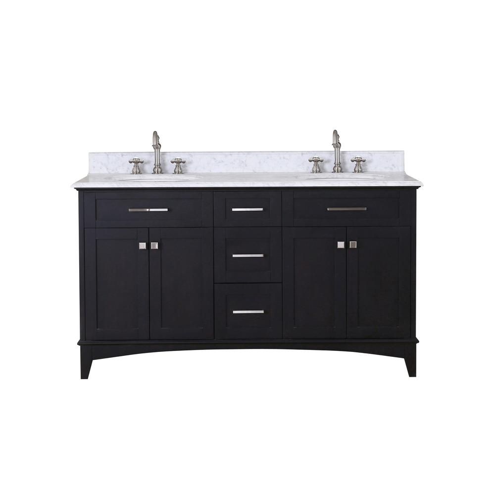 Water Creation Manhattan 60 in. Vanity in Dark Espresso with Marble Vanity Top in Carrara White