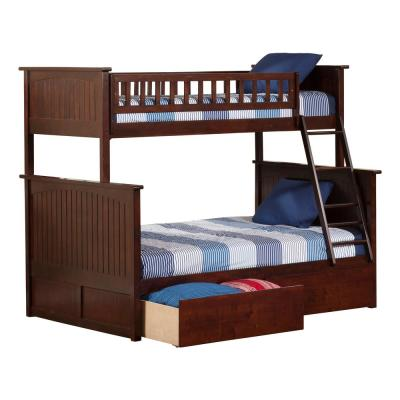 Nantucket Bunk Bed Twin over Full with 2 Urban Bed Drawers in Walnut