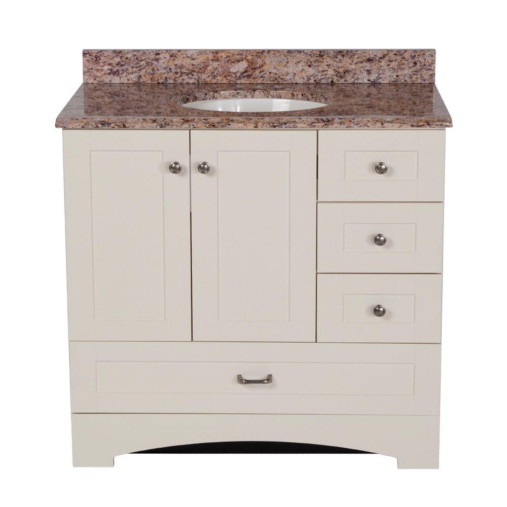 St. Paul 36 in. Manchester Vanity in Vanilla with 37 in. Stone Effects Vanity Top in Santa Cecilia
