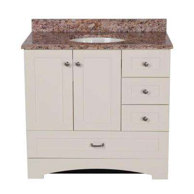 36 in. Manchester Vanity in Vanilla with 37 in. Stone Effects Vanity Top in Santa Cecilia