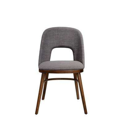 Georgetown Walnut Armless Dining Chair with Cut-Out Upholstered Back and Seat in Gray Linen (Set of 2)