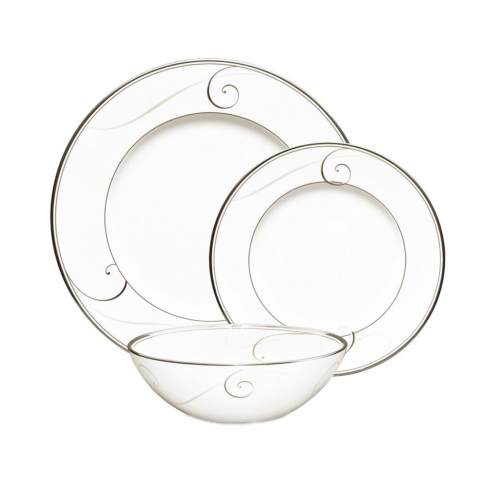 3-Piece Platinum Wave White Porcelain Formal Dinnerware Set (Service for 1)