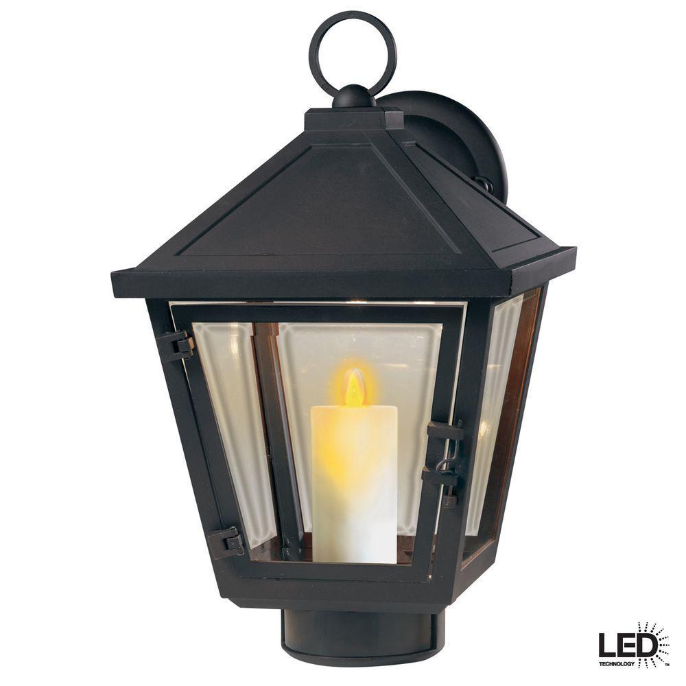 Hampton Bay Beauregard Wall Mount Outdoor Seville Bronze LED Lantern with Motion Detection Faux Flame