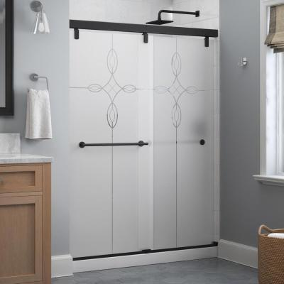 Lyndall 60 x 71-1/2 in. Frameless Mod Soft-Close Sliding Shower Door in Matte Black with 1/4 in. (6mm) Tranquility Glass