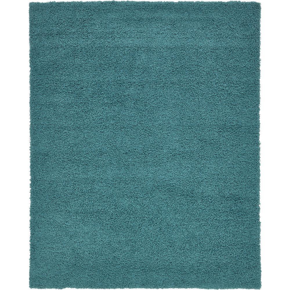 Unique Loom Solid Shag Deep Aqua Blue 8 X 10 Rug 3136675
