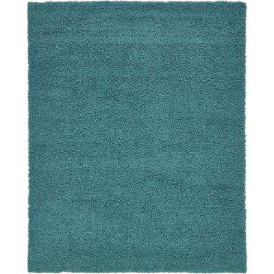 Solid Shag Deep Aqua Blue 8 Ft X 10 Area Rug