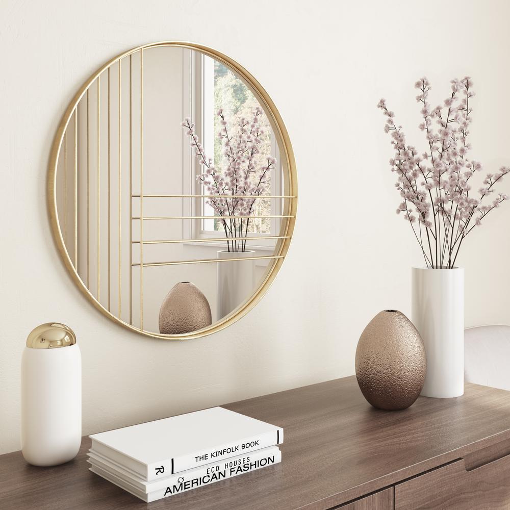 Medium Round Gold Leaf Finish Modern Mirror (24 in. H x 24 in. W)