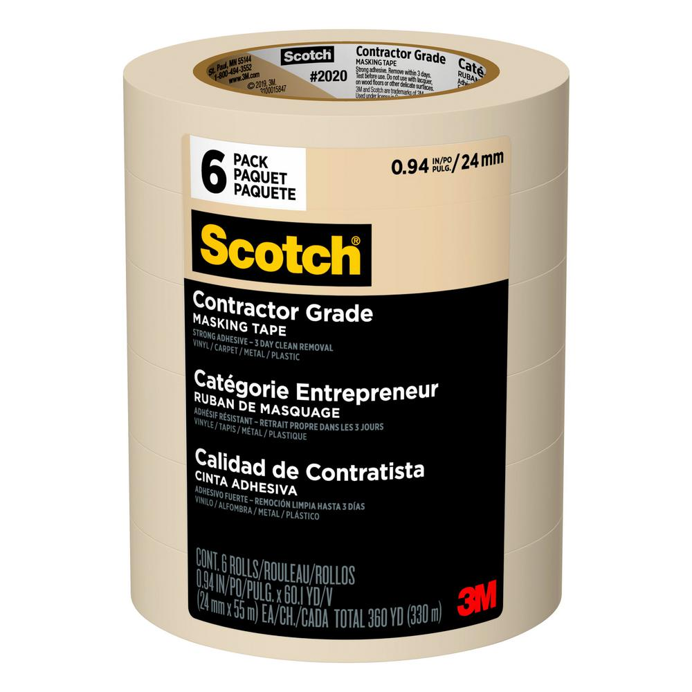 3M Scotch 0.94 in. x 60.1 yds. Contractor Grade Masking Tape (6-Pack)