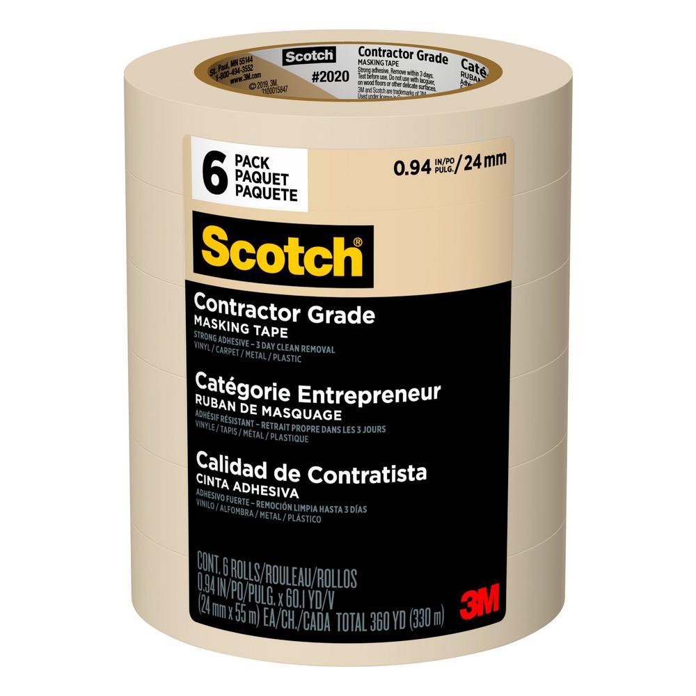 24 mm x 55 m .94 in x 60.1 yd Scotch® General Purpose Masking Tape 2020-24A