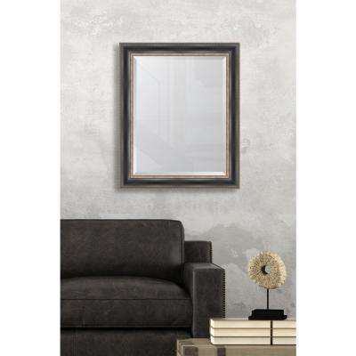 29 in. x 35 in. Framed Black with Silver Embossed Mirror