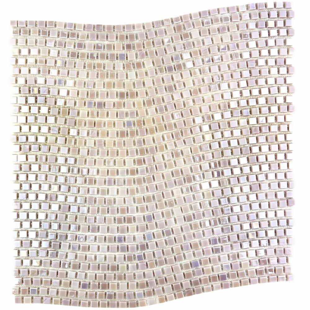 ABOLOS Galaxy Polaris Purple Wavy Square Mosaic 0.3125 in. x 0.3125 in. Iridescent Glass Wall Tile (1 Sq. ft.)