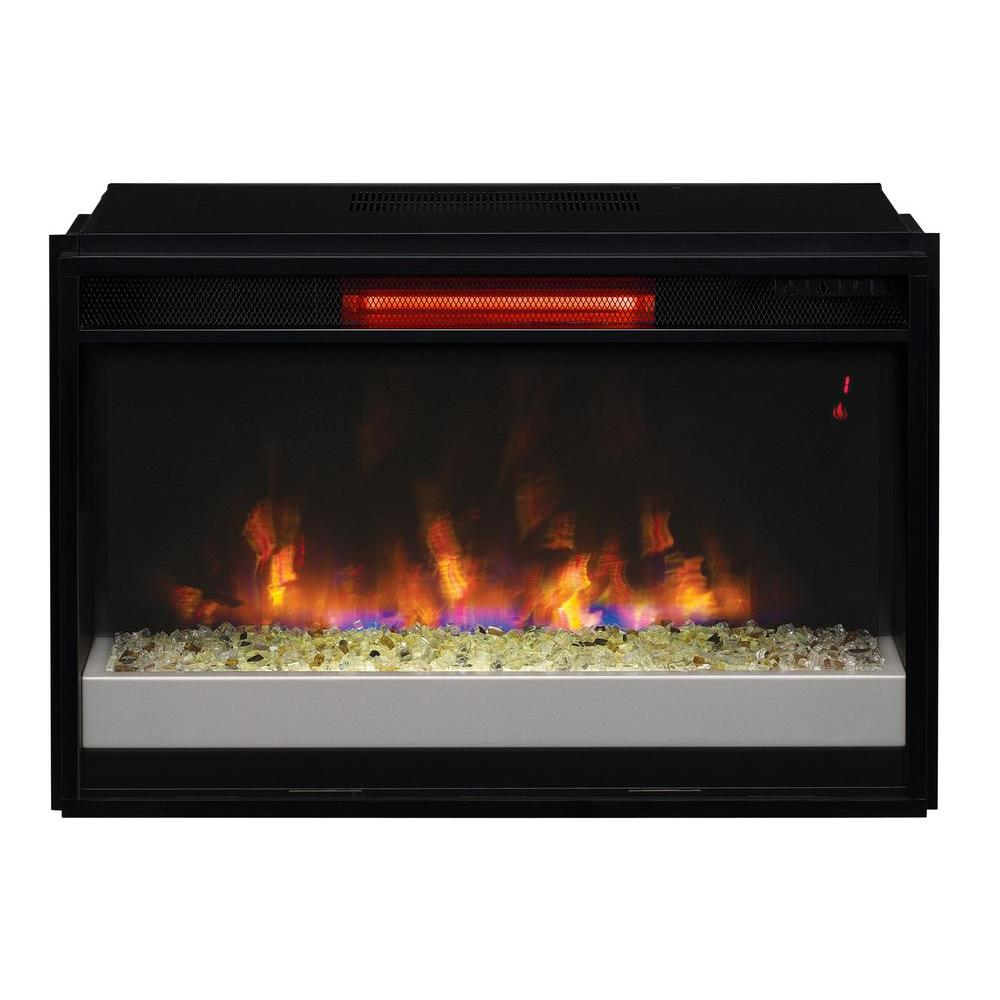 Get a perfect brightness for your environment by adding this Contemporary Infrared Quartz Electric Fireplace Insert with Flush-Mount Trim Kit.