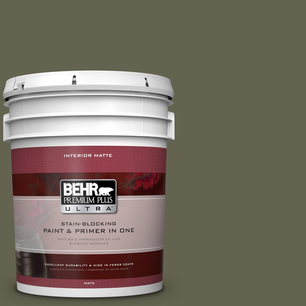 5 gal. #N350-7 Russian Olive Matte Interior Paint