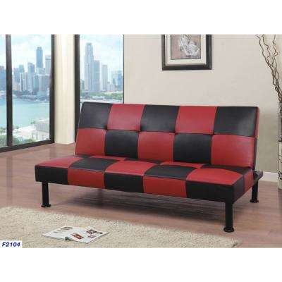Red and Black Leather Futon Convertible Sofa