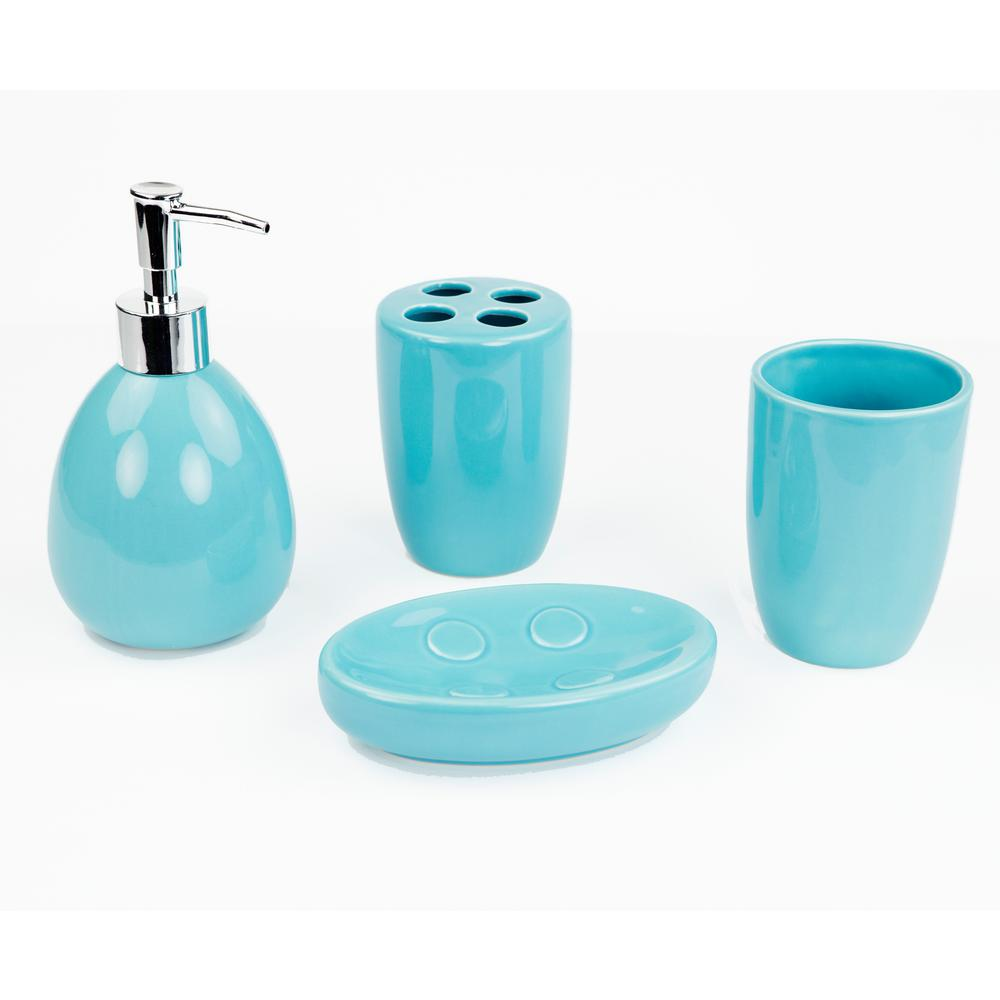 4-Piece Bath Accessory Set in Turquoise