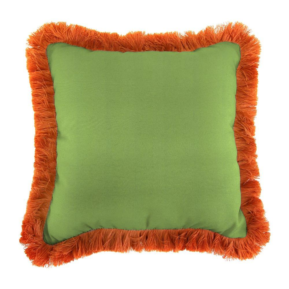 Sunbrella Canvas Gingko Square Outdoor Throw Pillow with Tuscan Fringe