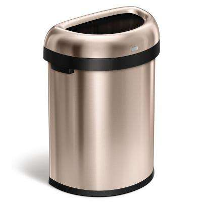 80 Liter/21 Gal. Heavy-Gauge Rose Gold Steel Semi-Round Open Top Trash Can