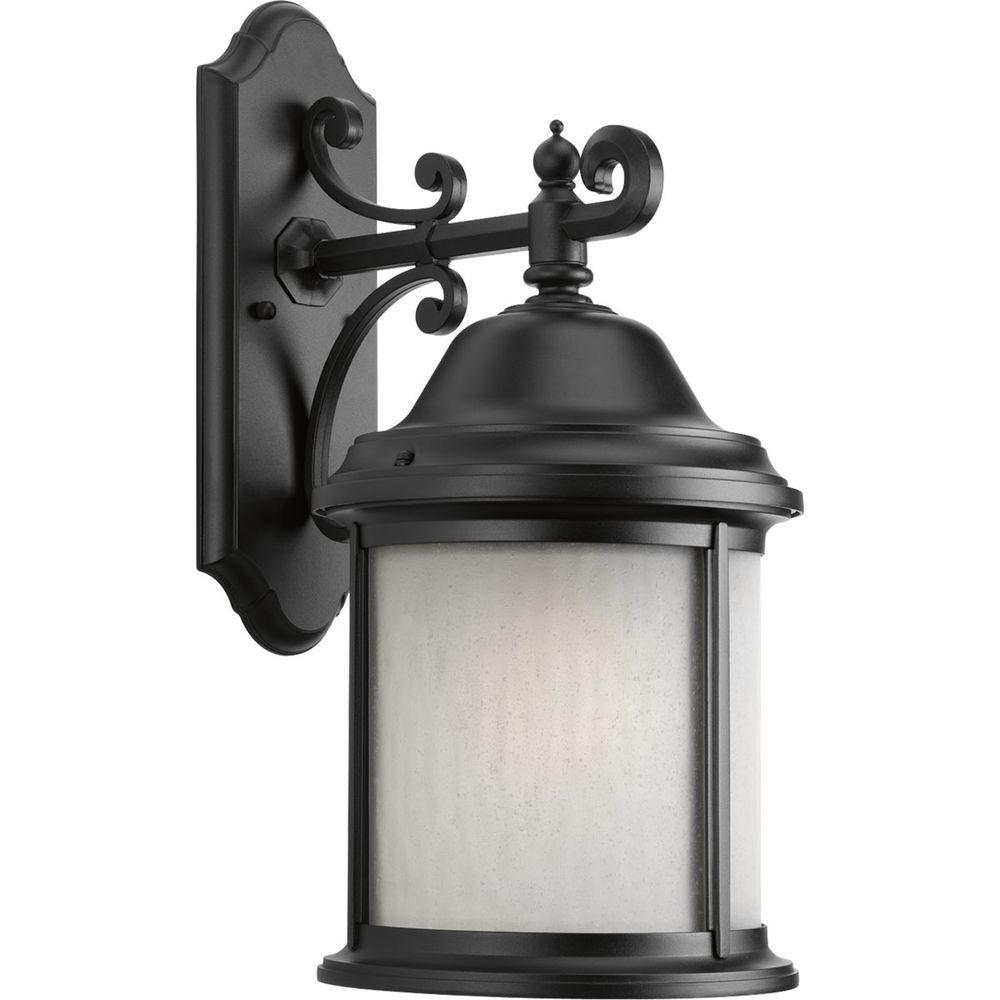 Progress Lighting Ashmore Collection 1-Light Textured Black Fluorescent Outdoor Wall Lantern