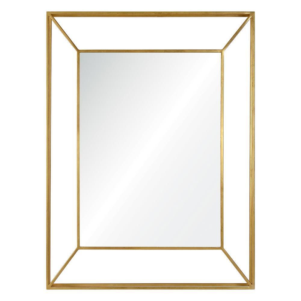 Medium Rectangle Gold Modern Mirror (40 in. H x 30 in. W)