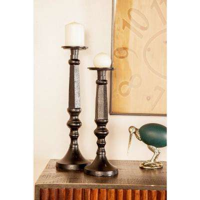 Black Baluster-Inspired Iron Candle Holders (Set of 3)