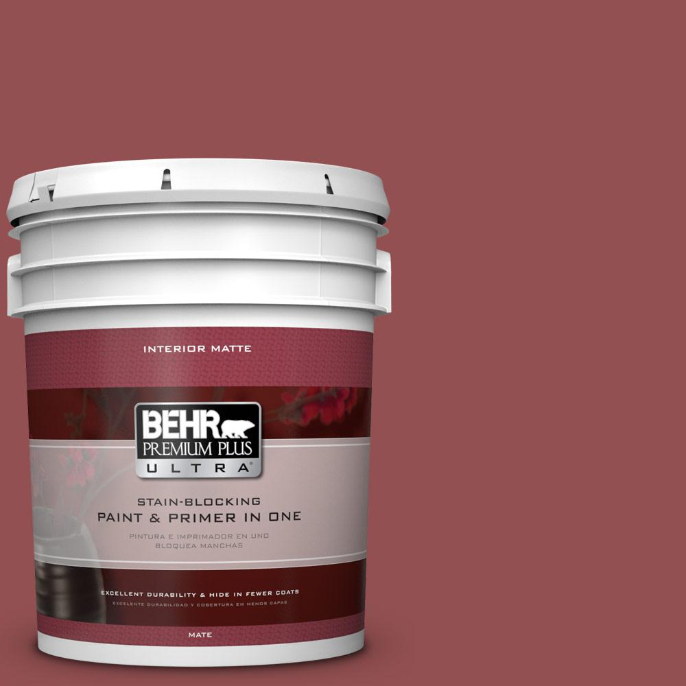5 gal. #PPU1-8 Pompeian Red Matte Interior Paint and Primer in