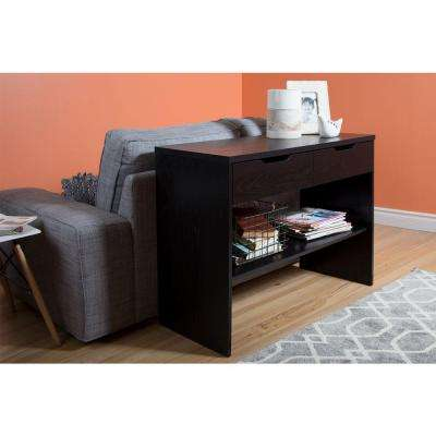 Flexible Black Oak Storage Console Table