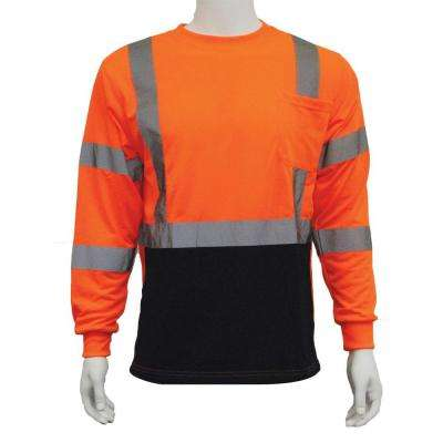 9804S Medium Class 3 Long Sleeve Hi-Viz Orange/Black Bottom Unisex Poly Jersey T-Shirt