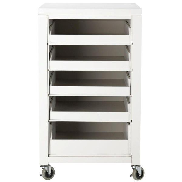 Martha Stewart Living Craft Space Picket Fence White Storage Cart with 5 Pull Out Trays and Casters (36 in. H)