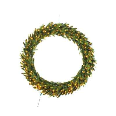 48 in. Pre-Lit LED Artificial Christmas Aspen Fir Wreath